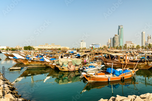 Traditional fishing boats in Kuwait City