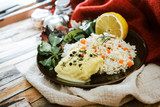 Andalusian fish, saffron rice with vegetables - 243265207