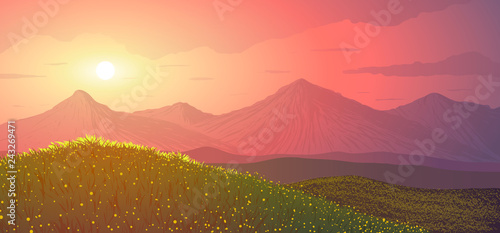 Spring landscape in vector. Meadow with flowers on background of mountains on sunset.
