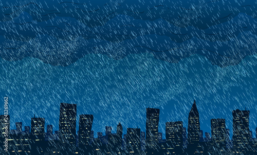 Rain in big city. Vector illustration.