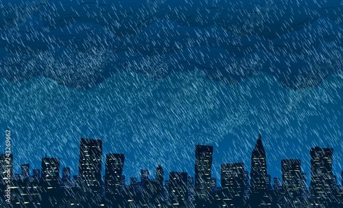 Rain in big city. Vector illustration.  - 243269662