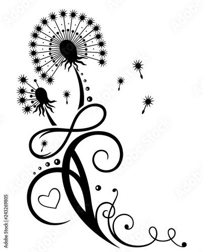 Große Pusteblume. Löwenzahn mit Blättern und Unendlichkeitsschleife. Sommer und Frühling. - 243269805