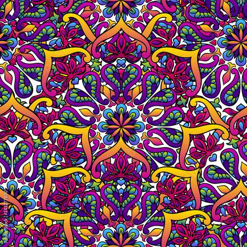 Indian ornamental seamless pattern. Ethnic folk mandala.