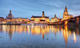 Dresden, Germany old town skyline on the Elbe River. - 243280297