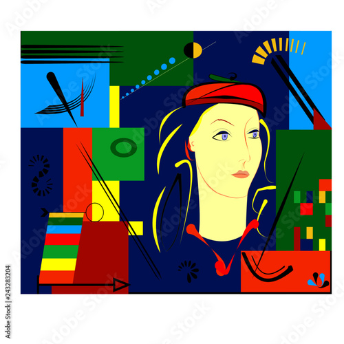 composition of abstract colorful shapes ,stylized woman ,on blue background expressionism art style