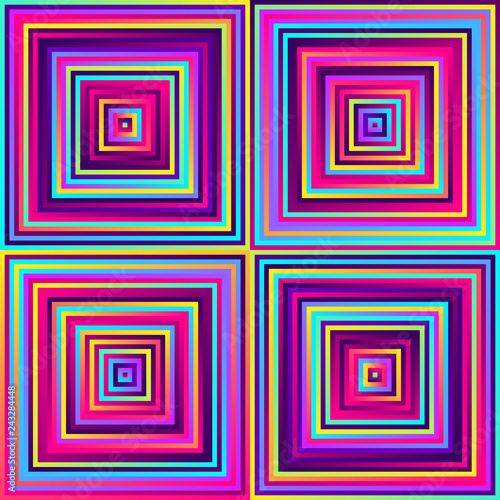 Crazy squares - bright geometric pattern with bold neon colors. Multicolor lines. Seamless vector pattern. Abstract geometric background.