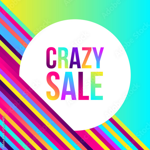 Crazy sale web banner, lots of colorful lines, frame for text. Vector illustration. Abstract geometric background 80s style, bright neon colors. Party poster template.