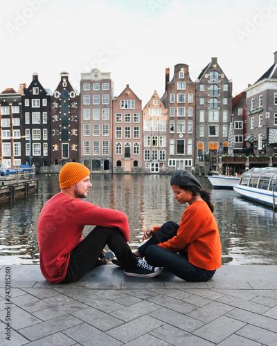 Sticker couple Amsterdam city Valentine concept