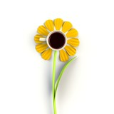 Top view of a cup of coffee in the form of flower isolated on white background, Coffee concept illustration, 3d rendering