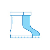 Garden boots line icon. Pair of gumboots isolated on white background. Symbol of garden work or autumn rainy weather. - 243288498