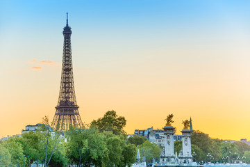 Beautiful view to Eiffel Tower and Pont Alexandre III at sunset. Paris, France