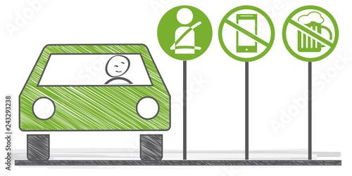 Autofahrer im PKW betrachtet Schilder mit Regeln