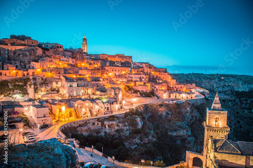 Leinwanddruck Bild Sassi di Matera at twilight, Basilicata, Italy