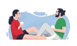 Romantic partners sitting on floor and drinking tea or coffee. Cute boyfriend and girlfriend spending time together at home. Funny cartoon characters. Colorful vector illustration in flat style. - 243297420