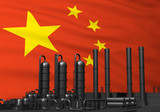black factory in front of flag china - 243298616