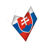 Sketched crooked heart with Slovakia flag