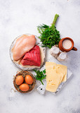 Set of farm products. Meat, eggs and milk - 243302205
