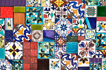 Colorful wall tiles As a guideline for building decoration. © adisorn123