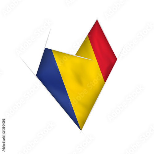 Sketched crooked heart with Romania flag - 243304092