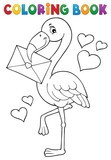 Coloring book flamingo with love letter - 243307619