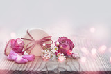 Decoration with roses and smal gift - 243309644