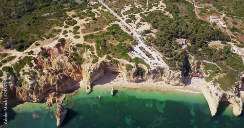 Aerial view of the coast Algarve, Portugal. Concept for top view beach of Portugal. Summer vacations