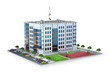 New modern residential building with parking and game maydanchik. 3d illustration