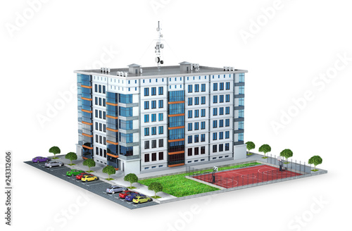 Fridge magnet New modern residential building with parking and game maydanchik. 3d illustration