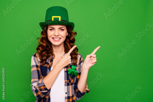 Close up photo of she her lady curly brunette finger shows to em