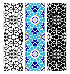 Arabic seamless mosaic pattern geometric texture background. Islamic decorative and design elements for textile, book covers, manufacturing, wallpapers, print, gift wrap.