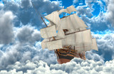 Sailboat flying above the clouds 3d illustration - 243314607