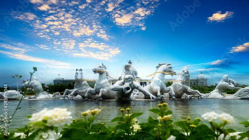 Apollo Fountain Plaza of Chimei art Museum in Tainan City, Taiwan. The statues are made of Italian Carrara marble