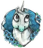 Einhorn Portrait in Blau im Stil einer Tätowierung - 243320241