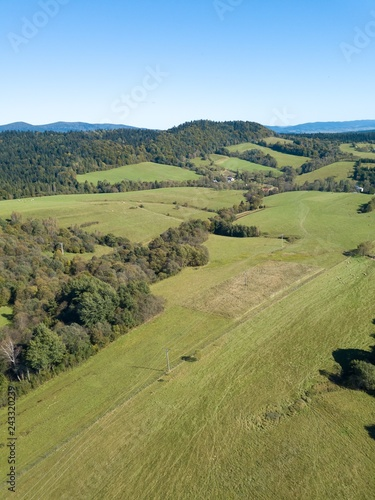 Typical meadows in Bieszczady mountains in Poland