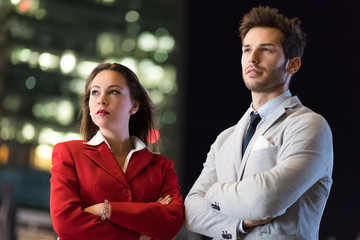 Business partners outdoor in a modern city at late evening © Minerva Studio
