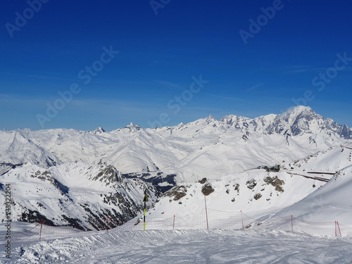 beautiful view on the mont blanc from ski slope  in winter