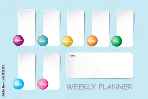 Weekly planner with a chart for notes and white vertical charts for each day of the week designed by ball with different color are ready for your text.