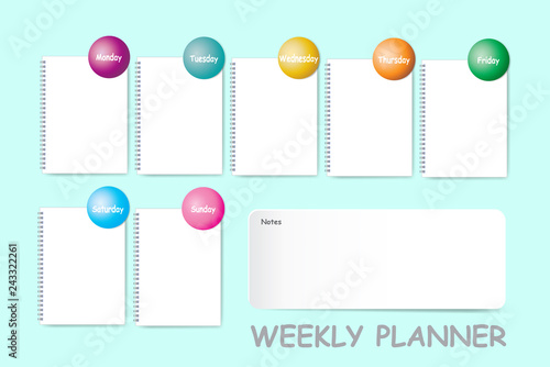 Weekly planner with a chart for notes and blank spiral notebook for each day of the week designed by different color are ready for your text.