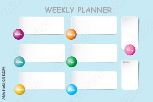 Weekly planner with a chart for notes and white horizontal charts for each day of the week designed by balls with a different color are ready for your text.