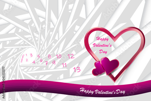 Trendy vector of love theme showing pink frame heart in the right side of the vector. Many small day numbers with a free place for your text are in the left side. All on the abstract prism background