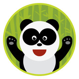 Vector flat hand drawn cartoon animal panda bear