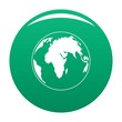 Round planet icon. Simple illustration of round planet vector icon for any design green