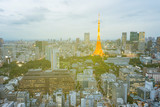 Tokyo city skyline in evening with Tokyo tower  at hight, skyscaper