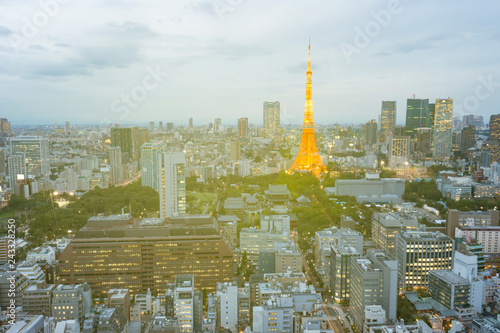 obraz PCV Tokyo city skyline in evening with Tokyo tower at hight, skyscaper