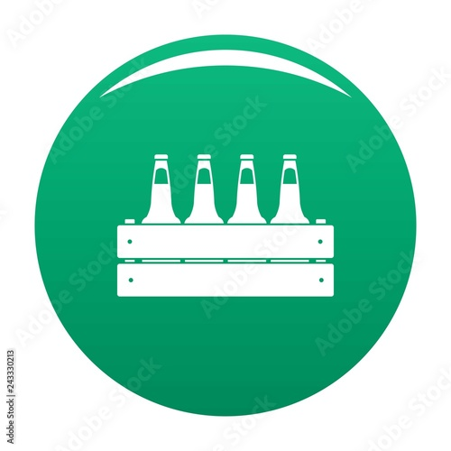 Beer crate icon. Simple illustration of beer crate vector icon for any design green