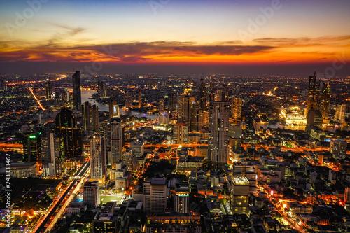Bangkok city at night with sunset time.