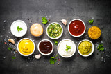 Sauce set assortment - mayonnaise, mustard, ketchup and others t - 243345015