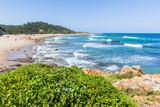 Beach Blue Ocean Waters Rocky Cove Coastline Landscape
