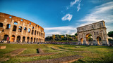 Colosseum and Arch of Constantine, Panoramic view, Rome, Italy