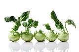 Fresh kohlrabi with with leaves - 243356895